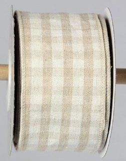 Ivory and Natural Checked Wired Sack Cloth   2.5 Inch x 10 Yards   Home Decor Products