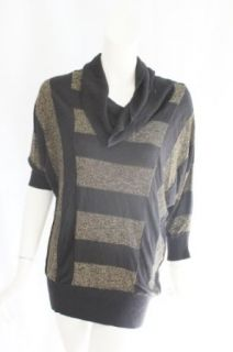 INC International Concepts Womens Black Gold Nostalgia Stripe Sweater PL