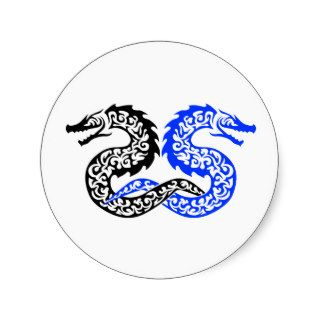 Awesome Tribal Dragon tattoo design Round Stickers
