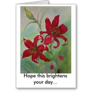 Brilliant Red Flowers Brighten Your Day Greeting Card
