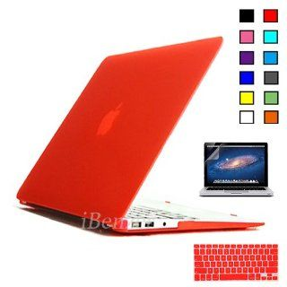 iBenzer   3 in 1 Multi colors Soft Touch Plastic Hard Case Cover & Keyboard Cover & screen protector for Multi Sizes Macbook (Macbook Air 13'', Red MMA13RD+2) Computers & Accessories