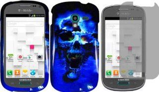 For Samsung Galaxy Exhibit T599 Hard Design Cover Case Blue Skull + LCD Screen Protector: Cell Phones & Accessories