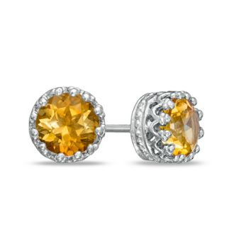0mm Citrine Crown Earrings in Sterling Silver   Zales