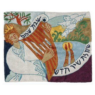 King David and Harp in Nature and Hebrew Shabbat Challah Cover   Tablecloths