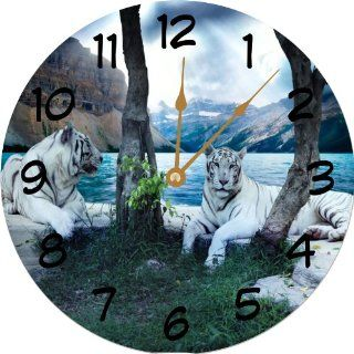 """Rikki Knight White Tigers 10"""" Wall Clock   **Proudly Made in the USA**"""
