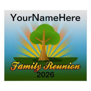 Custom Family Reunion, Green Tree with Sun Rays Print