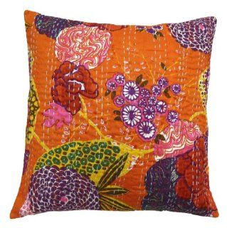 """1 Piece Orange Pillow Case Kantha Stitched Cotton Cushion Cover India 16"""" Inches   Throw Pillow Covers"""