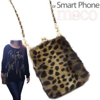Fluffy Fake Fur Mobile Pouch (Clasp Purse/Leopard): Cell Phones & Accessories