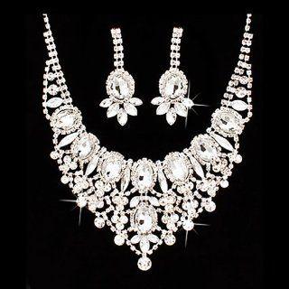 Bridal Wedding Jewelry Set Crystal Rhinestone Luxurious Dazzle Necklace Silver: Jewelry