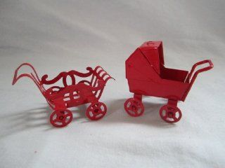 "Set of 2   Vintage Red Metal "" Baby Carriage "" Doll House Furniture 2"" X 2"": Toys & Games"