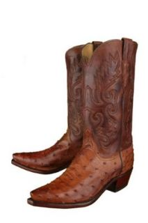 Lucchese Men's 1883 Barnwood Full Quill Ostrich Cowboy Boots Shoes