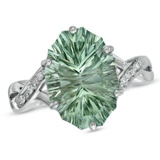Green Quartz And Diamond Accent Ring In Sterling Silver Zales