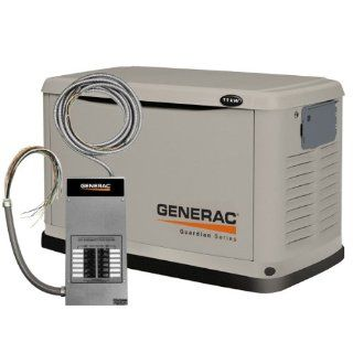 Generac 6437 10, 000 Watt Air Cooled Steel Enclosure Liquid Propane/Natural Gas Powered Standby Generator (CARB Compliant) with 12 Circuit Transfer Switch  Generator Accessories  Patio, Lawn & Garden