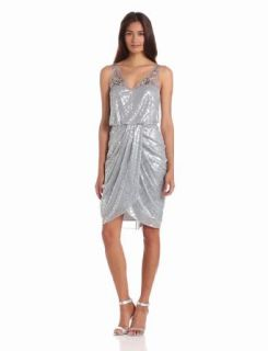 Adrianna Papell Women's Short Draped Dress, Silver, 4 at  Women�s Clothing store