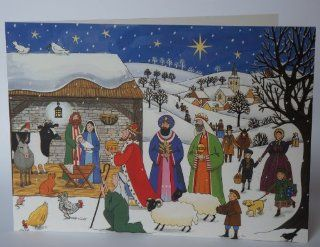 Alison Gardiner Pack of Traditional Christmas Cards   Jesus is Born   Visitors Gather   Holiday Decor Advent Calendars