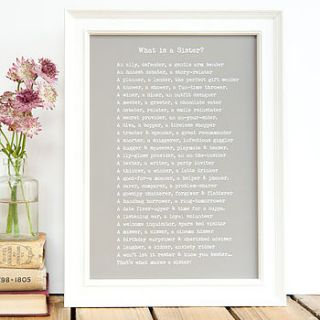 'what is a sister?' poem personalised print by bespoke verse
