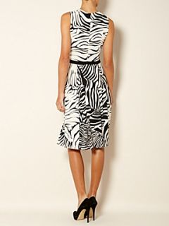 MaxMara Urano sleeveless zebra print shift dress Black & Ivory