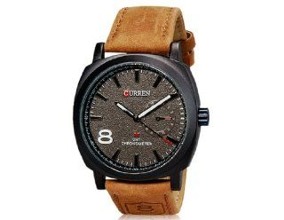 CURREN 8139 Unisex Stylish Quartz Analog Watch with Leather Strap (Grey) M.  Sports Fan Watches  Sports & Outdoors