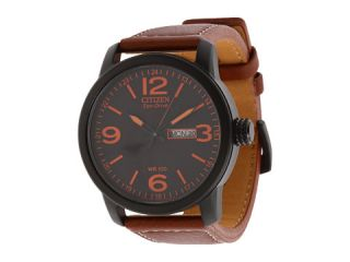 Citizen Watches BM8475 26E Eco Drive Strap Watch Black Ion Plated/Brown