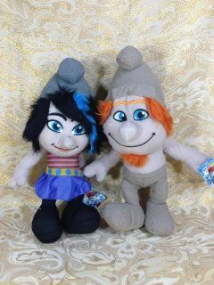 "Licensed Set of 2 Smurfs 2 Naughties Hackus and Vexy Grey Smurfs 14"" Plush: Toys & Games"