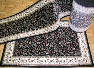 "Shop 610014   Rug Depot Exclusive on    Floral Stair Runner 22' Long with Matching 3'3 x 4'11 Foyer Rug   26"" x 22' Stair Runner   Matching 3'3 x 4'11 Area Rug   Black Background   Radici Como 1593 Black   Includes FREE Padding"