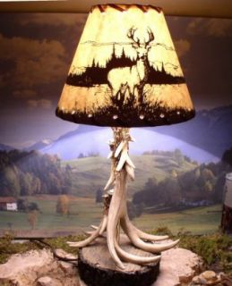 Antler Lamps with Deer Shade   Table Lamps