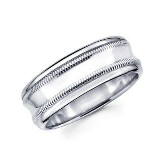 Solid 14k White Gold Mens Milgrain High Polish Wedding Ring Band 8MM Size 9: Jewelry