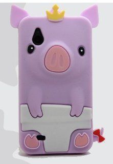 Multi Colors Cute Happy 3D Pig Crown CROWNED PIG Silicone Gel Case Cover For HTC Desire V T328w (puprle): Cell Phones & Accessories