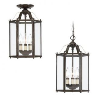 Sea Gull Lighting 5231 782 3 Light Hall and Foyer Fixture, Clear Glass Panels and Heirloom Bronze   Ceiling Pendant Fixtures