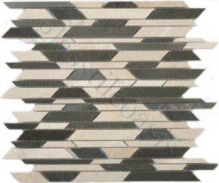 Bamboo Bluestone + Botticino BA 801 Sold by the Box Unique Shapes Cream/Beige Kitchen Polished Stone   Glass Tiles