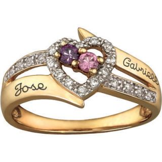 10K Gold Plated Sterling Silver Couples Birthstone Heart Ring with CZ