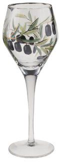 Wine Things Unlimited Tuscany Hand Painted Olive White Wine Glasses, Set of 4 Kitchen & Dining