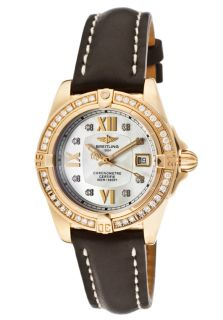 Breitling H7135653/A668 LT  Watches,Womens Windrider Diamond White MOP Dial 18k Solid Rose Gold Case Black Genuine Leather, Luxury Breitling Quartz Watches