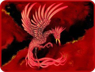 Red Phoenix Bird   Etched Vinyl Stained Glass Film, Static Cling Window Decal   Stained Glass Window Panels