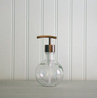 Moon Round Recycled Glass Soap Dispenser w/ Modern Copper Pump   Countertop Soap Dispensers