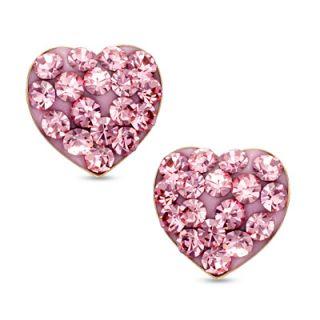 off pink crystal heart stud earrings in 14k gold $ 80 00 buy one get