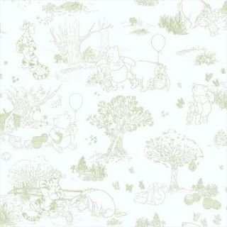 Pooh and Friends Toile Wallpaper   White/Green