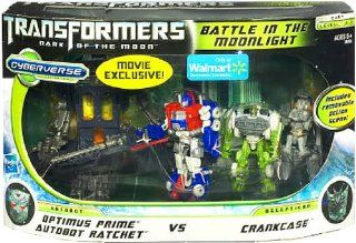 Transformers 3 Dark of the Moon Exclusive Cyberverse Legion Class Action Figure Playset Battle In The Moonlight Optimus Prime Autobot Ratchet vs Crankcase: Toys & Games