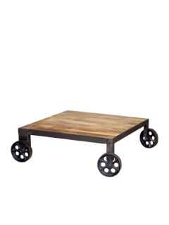 Pushcart Coffee Table by Bois et Cuir by CDI Intl