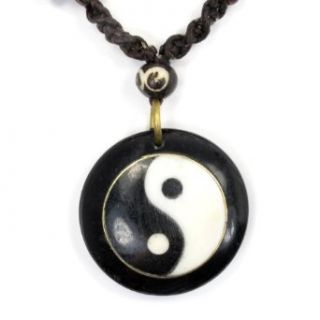 Yin & Yang Carved Bone Necklace at  Women�s Clothing store