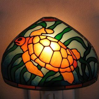 Stained Glass Lamp Night Light TURTLE