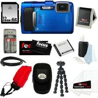 Olympus Stylus TG 830 iHS Digital Camera (Blue) with 32 GB Memory Card + Replacement Battery + Floating Foam Strap Red + Bundle : Point And Shoot Digital Camera Bundles : Camera & Photo