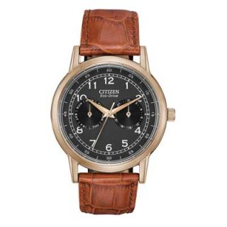 Mens Citizen Eco Drive™ Rose Tone Stainless Steel Watch with Black