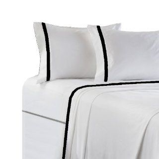 MARRIKAS 300TC Cotton BORDERED KING WHITE BLACK SHEET SET   Pillowcase And Sheet Sets