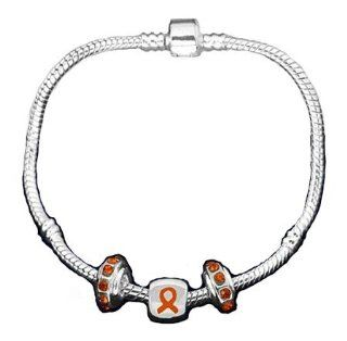Pandora Style Multiple Sclerosis Awareness Silver Charm Bracelet: Jewelry