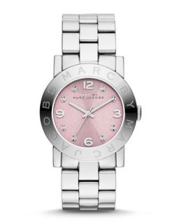 36mm Baker Crystal Analog Watch with Bracelet Strap, Stainless/Rose   MARC by