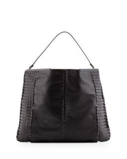 XL Frame Top Leather Hobo Bag, Black   Bottega Veneta