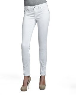 Womens Serena Mid Rise Super Skinny Jeans with Flap, Optic White   True