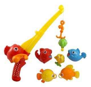 Rod and Reel Fishing Bath Toy Set for Kids with Musical Light up Fishing Pole and 6 Unique Fish Toys & Games