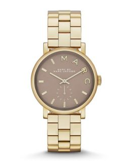 36mm Baker Analog Watch with Bracelet Strap, Yellow Golden/Gray   MARC by Marc